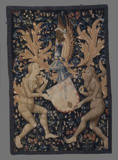 Armorial Tapestry France or Flanders, 1480-1520 Textiles; tapestries Wool; tapestry weave 57 x 39 in. (144.78 x 99.06 cm) William Randolph Hearst Collection (46.4.3). The Los Angeles County Museum of Art