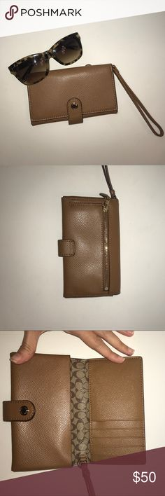 Coach phone wristlet Gorgeous tan/camel brown wristlet! Fits up to an iPhone 7. Can hide strap and use as clutch/wallet. Has 5 credit card slots, space for phone, and space for cash/anything else. Has outside coin zip which is bigger than it looks. When closed the dimensions are 6 inches by 3.5 inches. Make an offer or bundle to save💕💕 Coach Bags Clutches & Wristlets
