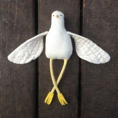 Bird Stuffed Animal - Soft Sculpture- Soft Toy - Cloth Doll - Rag Doll - Choose Pom Pom Color