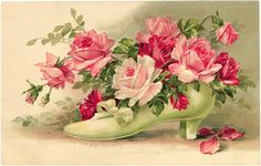 This beautiful clip art postcard features an illustration of a light green Victorian lady's shoe that is filled with a bouquet of pink and red roses. Click on image to enlarge.