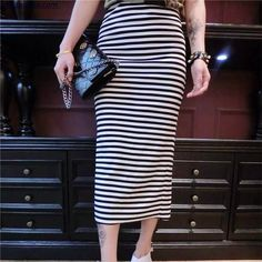 64.34$  Watch now - http://alic42.worldwells.pw/go.php?t=32714546061 - 2016 New Roupao Robe Of Spring Summer Wear Cultivate One's Morality Show Thin Joker Split Stripe Bag Hip Bust One Pace Skirt  64.34$