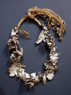 "Necklace | Jivan Astfalck. 'Vanitas'  ""Jivan Astfalck - Vanitas – A Mediation on Beauty and Decay, 2004-2007 - necklace, silver-electroformed, plastics, silk, organic materials, raffia - 380 x 260 x 70 mm"