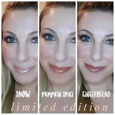 The Limited Edition Holiday Collection from LipSense: Snow, Pumpkin Spice, and Gingerbread (not pictured: crystal clear Icicle which is awesome for lightening up any shade. )