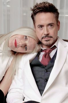 Gwyneth Paltrow and Robert Downey Jr., or Pepper Potts and Tony Stark/Iron Man. So cute together!