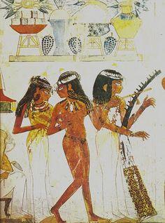 EGIPT: malowidło tancerka i dwie muzykantki, grobowiec Nachta w Tebach