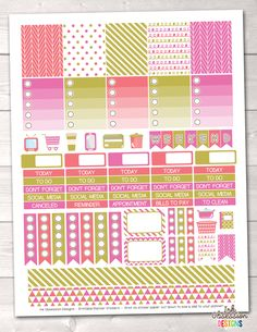 Pink Coral Gold Printable Planner Stickers Weekly Kit – Instant Download PDF for your Erin Condren Life Planner