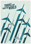 Poster De Voyage Vintage Stylisé Avion Illustration De La Composition Clipart vectoriel   Thinkstock