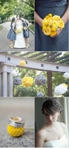 gray and yellow - my bridesmaids will be wearing grey dresses and carrying yellow flowers, I have quite paper poms and we could easily get yellow and grey ones