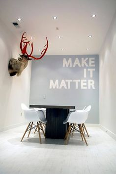This would be neat in our meeting room - a feature wall in a bright colour with our company values on it.