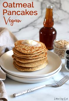 Learn how to make homemade, fluffy vegan oat pancakes with no banana in them. This vegan recipe is gluten free as the main ingredient is oat flour! Full cooking video in the recipe card so you can easily create this vegan breakfast recipe. #Vegan #VeganRecipe #VeganBreakfast #VeganPancake #GlutenFree #GlutenFreeRecipe #DairyFree #DairyFreeRecipe #EggFree #Eggless #PlantBased #Pancake #PancakeRecipe #OatFlour #Flaxseed #EggFreeRecipe #EgglessRecipe #DairyFreeBreakfast Vegan Oatmeal Pancakes, Vegan Protein Pancakes, Oat Flour Pancakes, Vegan Pancake Recipes, Eggless Recipes, Gluten Free Pancakes, Vegan Recipes, Dairy Free Breakfasts, Dairy Free Recipes