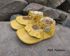 Baby Shoe Pattern Lemon Meringue Ruffled by oureverydayart