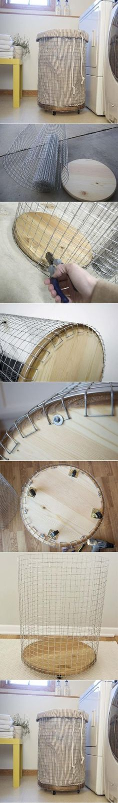 Cheap & Chic: How To Make a French-Vintage-Inspired Wire Hamper - DIY wire laundry basket La mejor imagen sobre diy face mask para tu gusto Estás buscando algo y no - Diy Projects To Try, Crafts To Make, Diy Crafts, Crafts Cheap, Towel Crafts, Weekend Projects, Diy Décoration, Easy Diy, Wire Laundry Basket