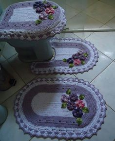 Lavender rugs and toilet seat cover