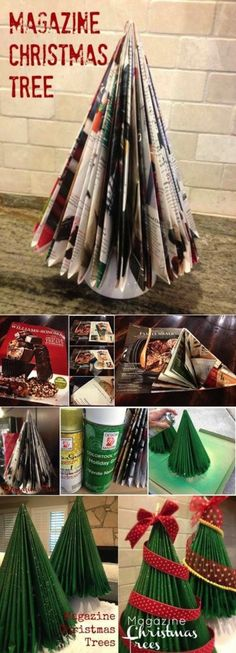 I made this with a Reader's Digest in Christmas crafts for kids: Up-Cycle old magazines with this Magazine Christmas tree craft! Diy Christmas Tree, Christmas Projects, Winter Christmas, All Things Christmas, Christmas Holidays, Christmas Decorations, Origami Christmas, Tree Decorations, Christmas Paper