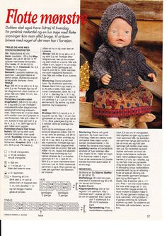 Album Archive - Dukketøj til Baby Born 2 - Ingelise Knitting Dolls Clothes, Doll Clothes Patterns, Doll Patterns, Clothing Patterns, Knitting Patterns, Reborn Dolls, Baby Dolls, Crochet Dolls, Crochet Hats