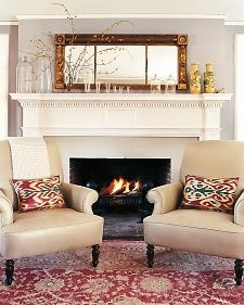 the two chairs in front of the fireplace Martha STEWART