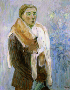 Self Portrait (Lynx Boa), 1942 by Tove Jansson on Curiator, the world's biggest collaborative art collection. Art And Illustration, Illustrations, Lynx, Dulwich Picture Gallery, Tove Jansson, Kunst Online, Miss Moss, Digital Museum, Selfies