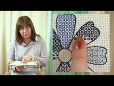 Hand Embroidery - Blackwork Hexagons and squares - YouTube