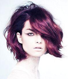 A Medium Red wavy coloured multi-tonal messy bob womens haircut hairstyle by Brooks&Brooks