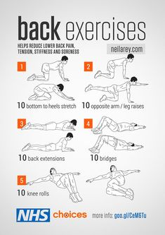 A series of strength and flexibility exercises to help reduce lower back pain, including tension, stiffness and soreness. A series of strength and flexibility exercises to help reduce lower back pain, including tension, stiffness and soreness. Fitness Workouts, Easy Workouts, At Home Workouts, Weekly Gym Workouts, Gym Workouts For Men, Training Workouts, Floor Workouts, Gym Fitness, Mens Fitness