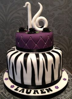 Glamourous 16th Birthday Cake  Cake by Flourpowerbynina