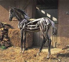 Horses made from driftwood!