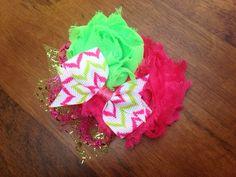 Pink & Green Flower Clip  Clip ONLY. Newborn por EdensBowtique, $7,50