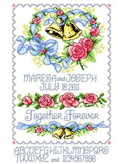 Wedding Bells Heart - Love cross stitch pattern designed by Ursula Michael. Category: Wedding.