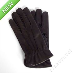Black nubuck leather gloves for men with wool lining