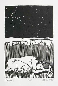 Dream Linocut edition of 25 https.//www.dioliver.co.uk