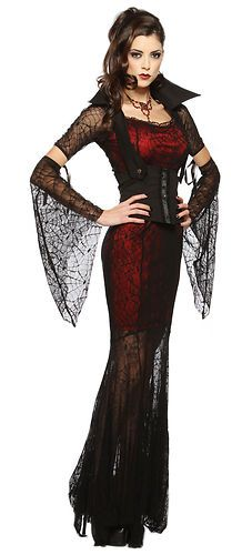 New Sexy Womens Goth Vampire Witch Halloween Costume XS | eBay