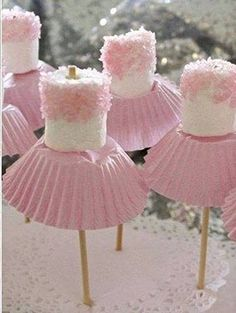 for Amzi's birthday? Marshmallow ballerinas Oh goodness - now, we've all seen cake pops, and we all know about what fun they can be for a party. so how about this for a theme, the ballerina party, complete with little marshmallow ballerinas! Babyshower Party, Baby Girl Babyshower Ideas, Marshmallow Pops, Pink Marshmallows, Marshmellow Ideas, Marshmallow Skewers, Chocolate Covered Marshmallows, Party Food Kids, Birthday Party Food For Kids