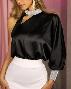 Solid Patchwork Diamante Trim One Shoulder Blouse Women's Best Online Shopping - Offering Huge Discounts on Dresses, Lingerie , Jumpsuits , Swimwear, Tops and More. Blusas Top, Tops Online Shopping, Trend Fashion, Fashion Top, Fall Fashion, Latest Fashion, Style Fashion, Shoulder Cut, Shoulder Sleeve
