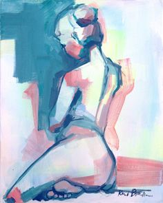 Print of Female Figure in pastel and neon, figure drawing Female nude, Bathroom Art, colorful art, woman, gifts for her, graceful back