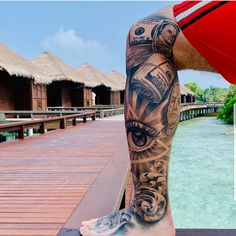 Badass Sleeve Tattoos, Aztec Tattoos Sleeve, Leg Sleeve Tattoo, Leg Tattoo Men, Tattoo Sleeve Designs, Kneck Tattoos, Forarm Tattoos, Chicano Tattoos, Leg Tattoos