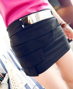 Chicnova Layered Bodycon Skirts with Metal