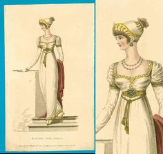 Lovely Grecian Regency lady  Description: What a striking image! This scarce and desirable handcoloured engraving shows a lady dressed in high Classical style, very Grecian or Egyptian influenced. Her earrings, belt, upper and lover sleeve cuffs have a geometric designs in blue. The use of yellow trims represents gold and is gorgeous. The helmet style bonnet matches, as do the little striped shoes. Handcoloured in the era!  Publication: Belle Assemblee, 1810  Condition: Antique item over 200…