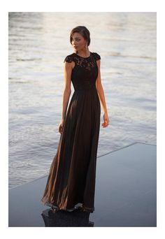 [www.NYwholesale.com] Black Latitia Bridesmaid Dress | The stunning black Latitia bridesmaid dress is suitable for every event. A beautiful 100% pure silk full skirt with a delicate lace bodice and a row of buttons down the spine.