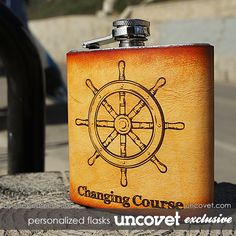 Changing Course Personalized Leather Flasks