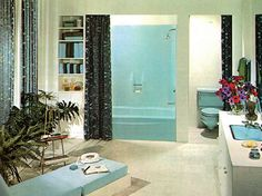 This is a cool retro bathroom. Love the lighting and it's a nice space.