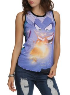 Sleeveless top with allover Ursula, the Sea Witch design. Sheer back with tentacle design.
