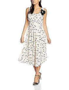 10, Multicoloured (Multi Cream), Jacques Vert Women's Spot Fit and Flare Dress N