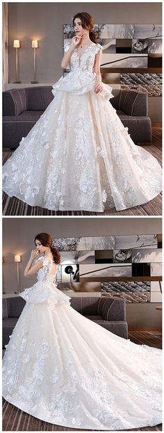 Scoop Neck Flowers Lace-Up Chapel Train Wedding Dress #TbdressReviews #WeddingDress