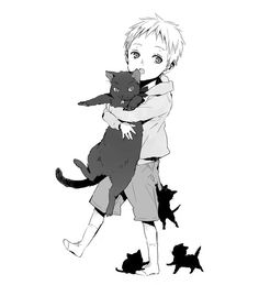 Anime manga boy cats