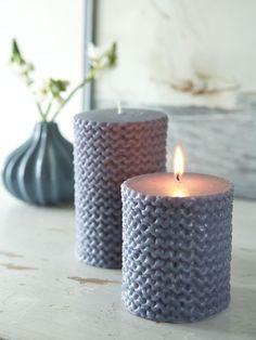 Knit Stitch Candle - Sea Blue