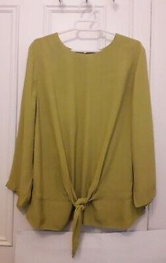 Mustard Yellow Batwing 3//4 Sleeves Tie Front Oversized Top Blouse Size S XL