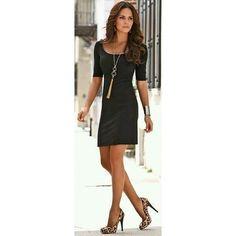 Look com Vestido preto simples,guanha um ar chique com maxi colar e um scarpin animal print  #look #Style #Mulheres #women #InstaSize