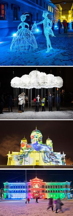 The Lux Helsinki light festival in Finland has just ended, but here are some photos of the installations that were displayed during the the festival.