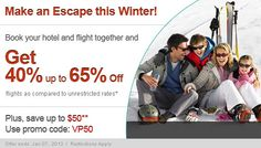 Save up to 65% when you book your hotel and flight together. Check this site for coupon codes to save even more.