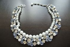 Vintage Christian Dior 1959 Moonstone Glass Blue Rhinestone Necklace Choker | eBay